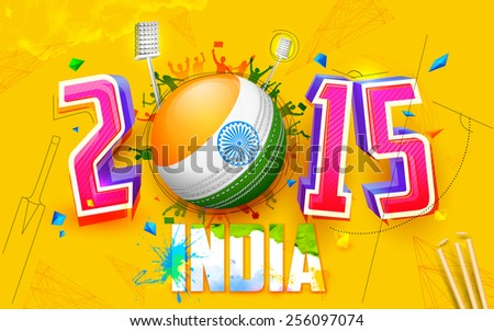 illustration of game of cricket with public cheering - stock vector
