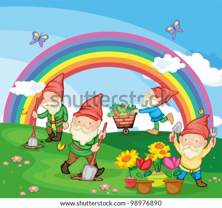 Illustration of gardening gnomes - stock vector