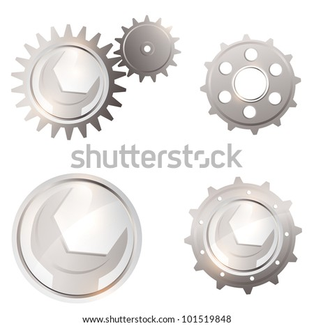 illustration of Gear system collection with spanner over white background - stock vector