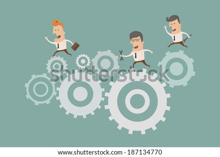 Illustration of gears forming , eps10 vector format - stock vector