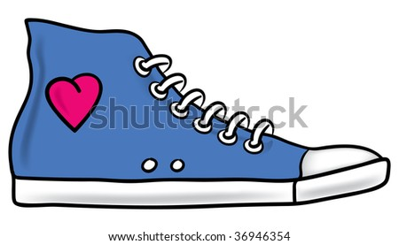 Illustration of generic blue running shoe with pink heart and shading - stock vector