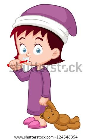 illustration of Girl brushing her teeth - stock vector