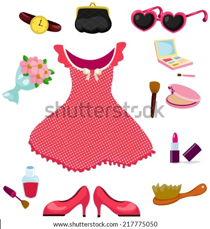 illustration of girl dress accessories and cosmetic set  - stock vector