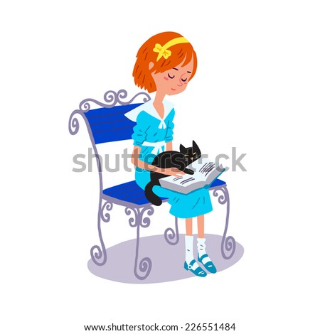 Illustration of girl reading a book - stock vector