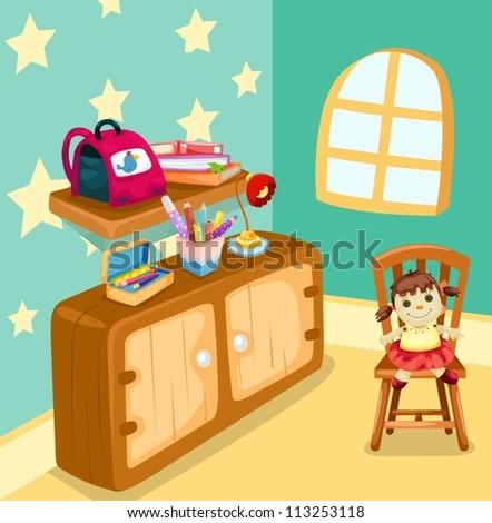 illustration of girl study room - stock vector