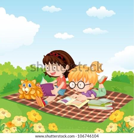 illustration of girls reading book in the garden - stock vector