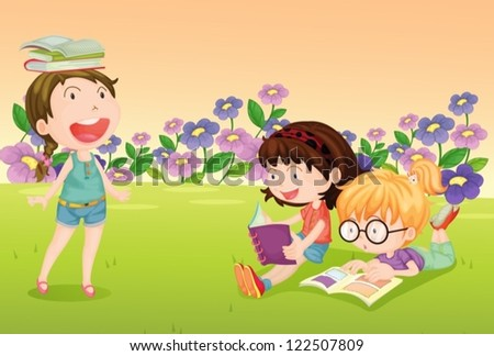 Illustration of girls reading books in a beautiful nature