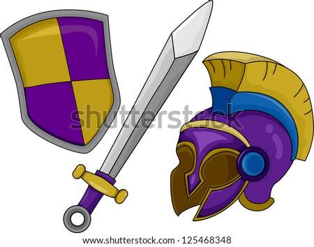 Illustration of Gladiator Helmet Shield and Sword - stock vector