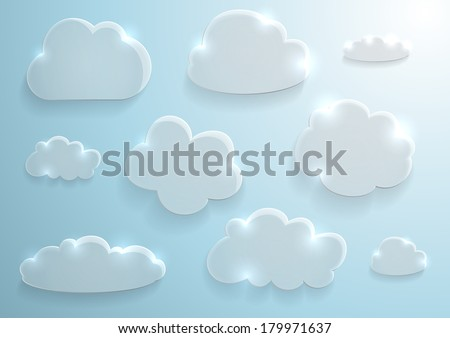 Illustration of glass clouds collection on sky background