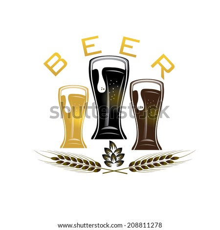 illustration of glasses with beer - stock vector