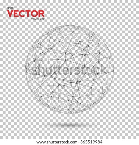 Illustration of Global Network Wireframe Globe Ball with Dots Connection Vector Background. Technology Connection EPS10 Vector Concept Illustration - stock vector