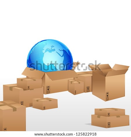 illustration of globe in cardboard box for cargo - stock vector