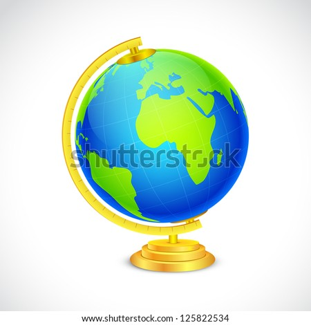 illustration of globe in stand on white background - stock vector