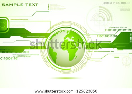 illustration of globe on abstract technical background - stock vector