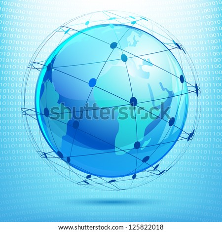 illustration of globe showing networking on binary background - stock vector