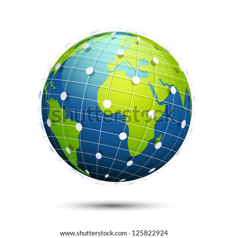 illustration of globe with world wide connectivity on white background - stock vector