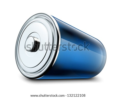 Illustration of glossy battery on white background - stock vector