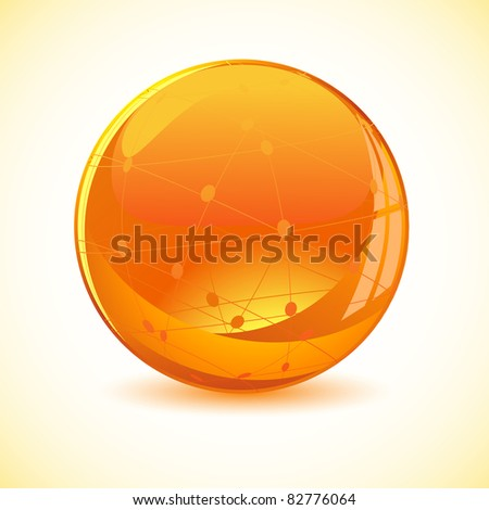 illustration of glossy binary globe on abstract background - stock vector