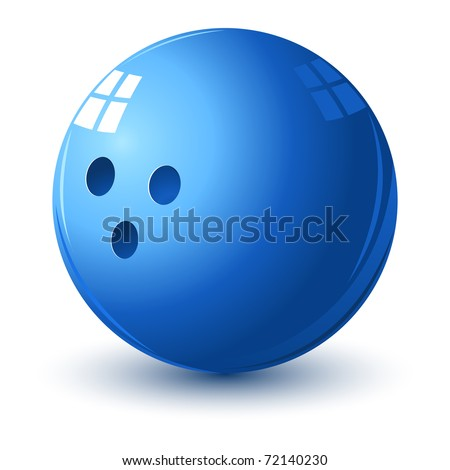 illustration of glossy bowling ball on isolated white background - stock vector