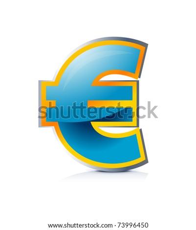 Illustration of glossy euro symbol - stock vector