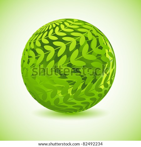 illustration of glossy globe made of green leaf - stock vector