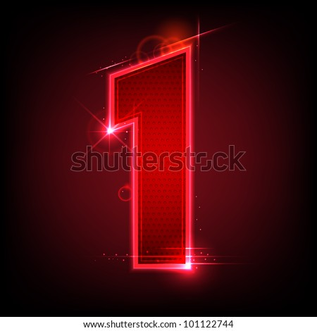 illustration of glowing number one on abstract background - stock vector