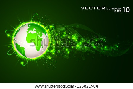 illustration of glowing orbit around earth on abstract background - stock vector