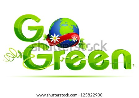 illustration of go green text with globe wrapped with ribbon - stock vector