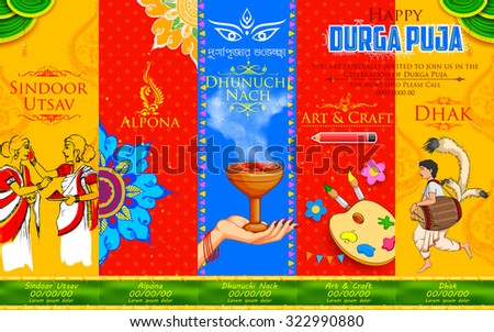 illustration of goddess Durga in Happy Durga Puja background with different events like Sindoor Utsav( play with vermillion), Alpona(rangoli) and Dhunuchi Nach (traditional dance) - stock vector