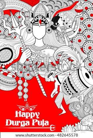 illustration of goddess Durga in Happy Dussehra background