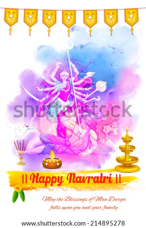 illustration of goddess Durga in Happy Navratri background - stock vector