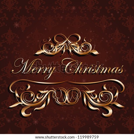 illustration of gold and brown, red christmas background.