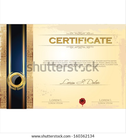 Illustration of gold detailed certificate - stock vector