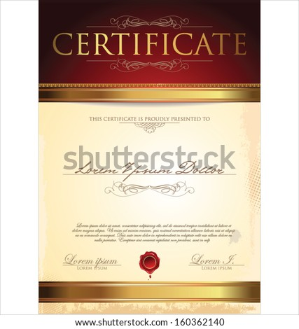 Illustration of gold detailed certificate - stock vector