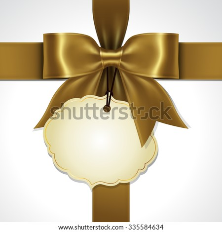 Illustration of gold ribbon bow vector with tag card - stock vector