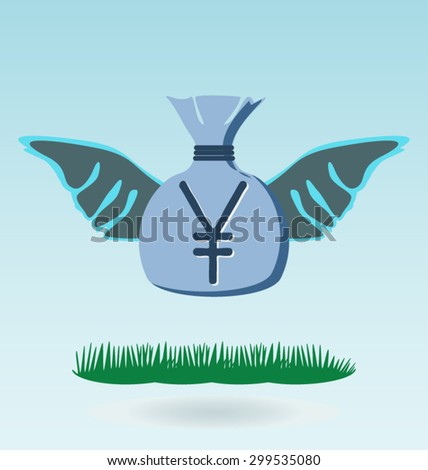 Illustration of gold yen coin with wings bag of money - stock vector