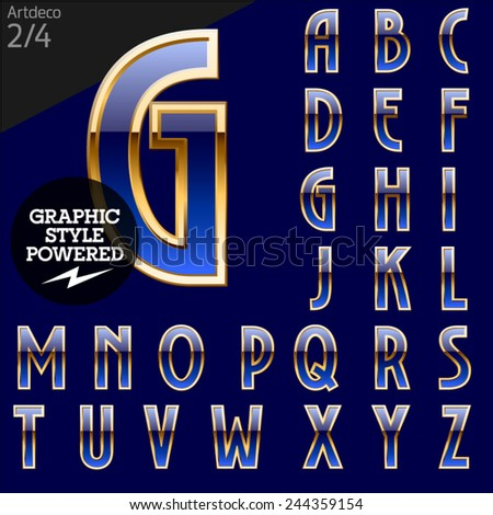 Illustration of golden alphabet. Art deco. File contains graphic styles available in Illustrator. Set 2 - stock vector