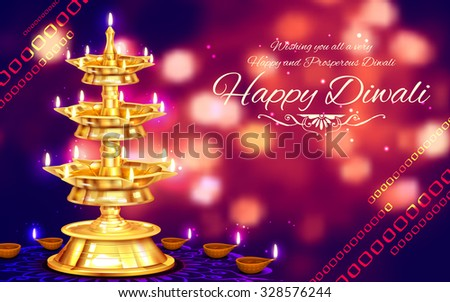 illustration of golden diya stand on abstract Diwali background - stock vector