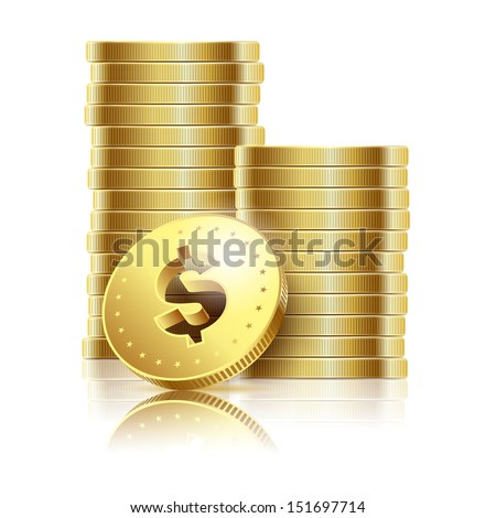 illustration of golden dollar coins isolated on a white background. Vector EPS10. - stock vector