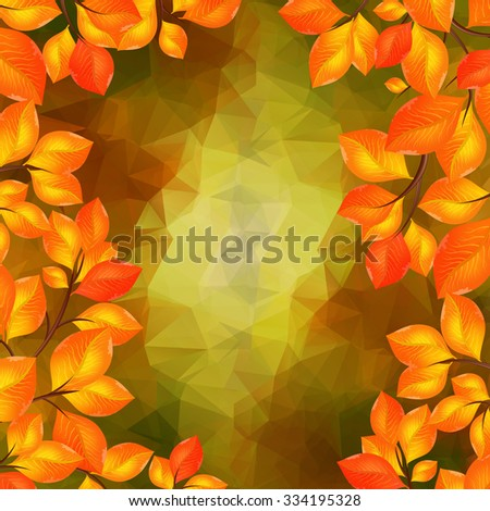 Illustration of golden leaves frame with triangle background
