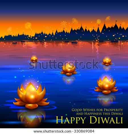 illustration of golden lotus shaped diya floating on river in Diwali background - stock vector