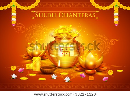 illustration of golden lotus shaped diya on abstract Diwali background - stock vector