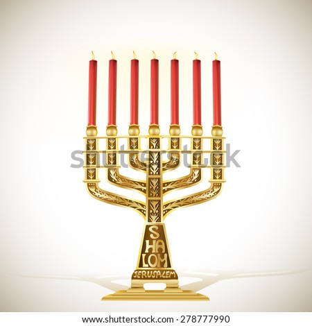 illustration of golden menorah with seven candles - stock vector