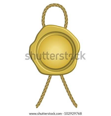 illustration of golden wax seal - stock vector