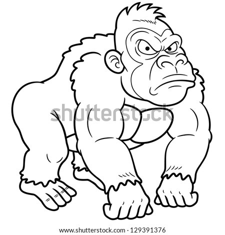 scary monkey coloring pages | Illustration Gorilla Cartoon Coloring Book Stock Vector ...