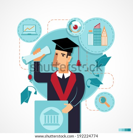 Illustration of graduate speaking speech on the podium with flying hats. Infographics for presentations, education, colleges and institutes. Flat design. - stock vector