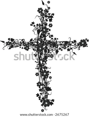 Illustration of grapes, flowers and ivy in a crucifix design element.  File contains no gradients. - stock vector