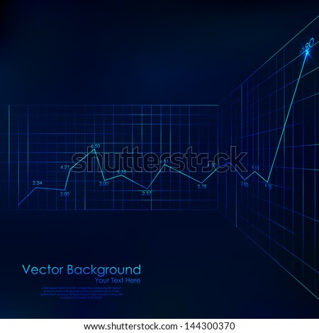 illustration of graph line on business background - stock vector