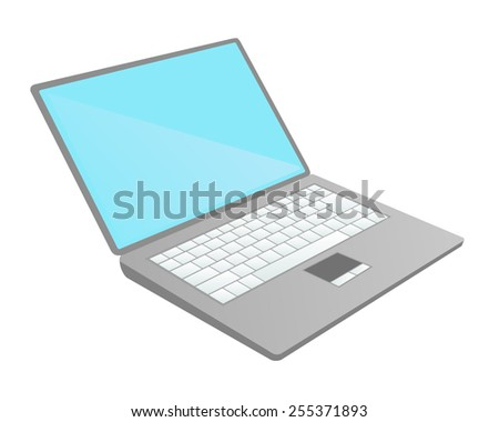 Illustration of gray notebook, blue screen and white keyboard