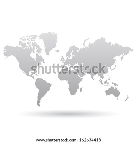 Illustration of Gray World Map isolated on a white background - stock vector